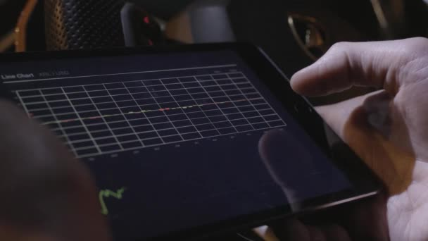 Business person analyzing financial statistics displayed on the tablet screen. Stock. Close-up of a tablet computer with graphs, diagrams and charts on screen in hands. Report, marketing, business