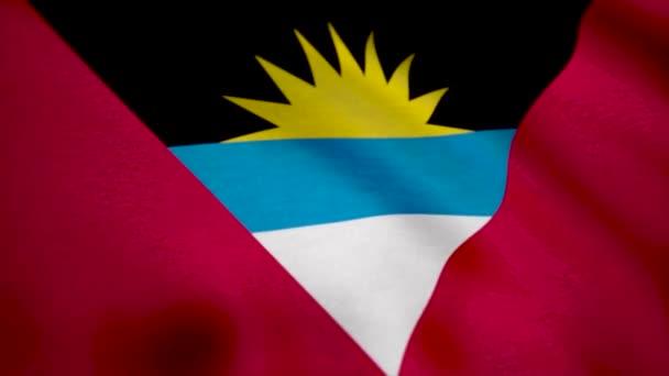 Antigua and Barbuda flag waving. Flag of Antigua background