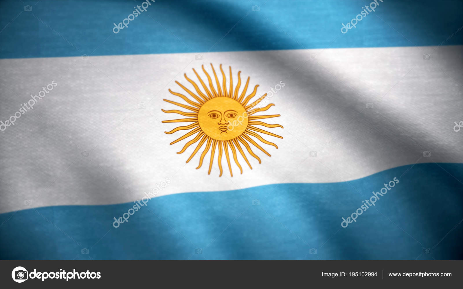 Realistische Baumwolle Flagge Argentiniens als Hintergrund. Die ...