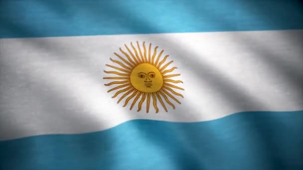 Realistic cotton flag of Argentina as a background. The Argentinian flag waving in the wind. The Argentina flag flaps in the breeze, filling the whole frame