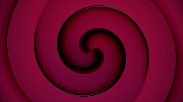 Abstraktní pozadí s animací pohybu retro vzory z barevné kruhy jako paprsky slunce. Hypnotický spirála se otáčí na zářící černém pozadí. Retro radiální pozadí. Animace