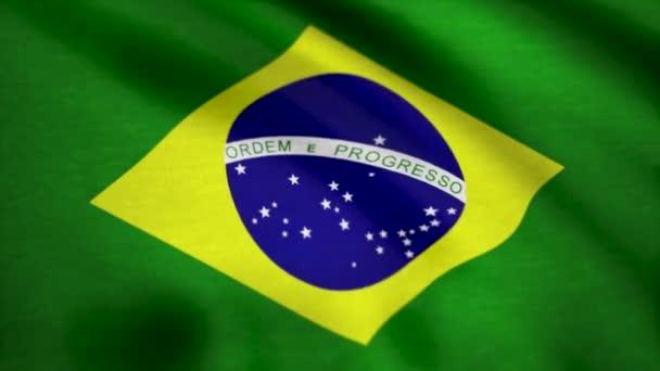 braziliaanse vlag stof met golven. vlag van brazilië achtergrond