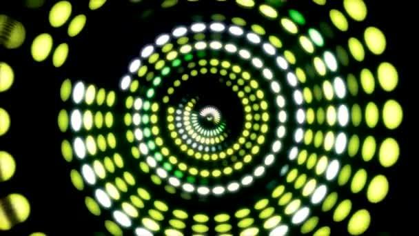 Elemento di interfaccia utente 3d circolare incandescente. Illuminate cerchio e sfera forme geometriche trasformando in un loop continuo. Animazione di bagliore circolare