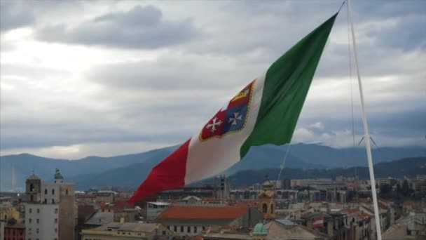 Flag of Italy, waving in the wind, on the sky. Stock. Beautiful flag blowing in wind: Italy