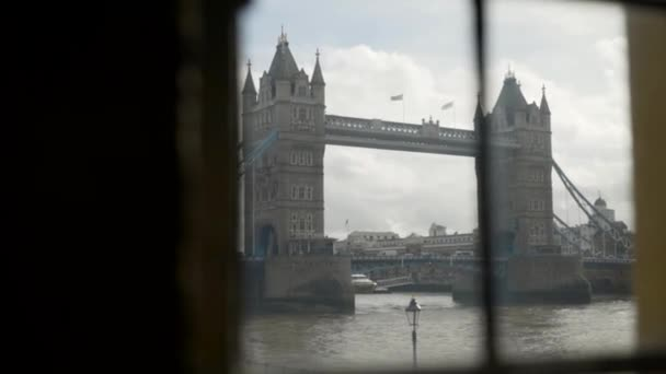 London, Britain-September, 2019: Beautiful view of old tower bridge on background of sky. Action. Beautiful historic drawbridge with two twin towers in London