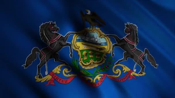 Az amerikai Pennsylvania állam zászlója, az Egyesült Államok szélben hullámzó régiója, zökkenőmentes hurok. Animáció. Kék zászló lovakkal és sassal.