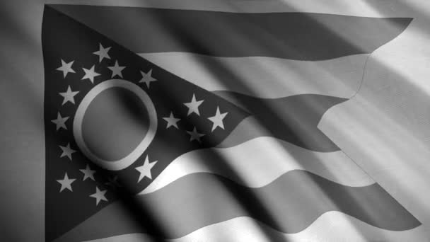 Close up of Ohio state black and white flag flowing slowly and forming ripples, seamless loop. Animation. Abstract flag one of United states waving in the wind, monochrome.