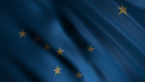 Close-up of waving flag of Alaska. Animation. Animated background with blue flag waving in wind and stars. Flags of States of America