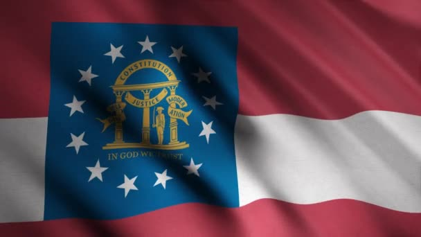 Close-up of waving flag of Georgia. Animation. Animated background with red flag waving in wind with white stripe and image of coat of arms in rectangle. Flags of States of America