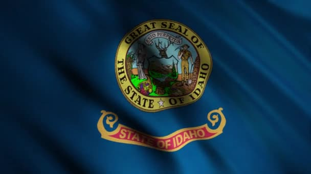 Close-up of waving flag of Idaho. Animation. Animated background with blue flag waving in wind with image of state seal. Flags of States of America
