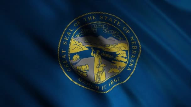 Close-up of waving Nebraska flag. Animation. Patriotic background with rectangular blue flag waving in wind and image of state seal. Flags of States of America