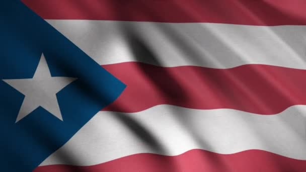 Close-up of waving flag of Puerto Rico. Animation. Patriotic background of rectangular flag with red and white stripes and white star in blue triangle. Flags of States of America