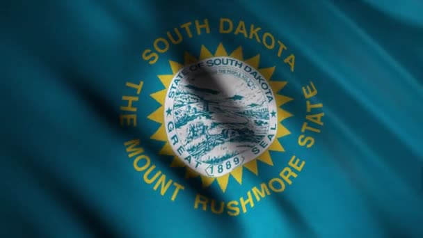 Close-up of flag of South Dakota. Animation. Beautiful background of waving blue flag with image of round state seal in center. Flags of States of America