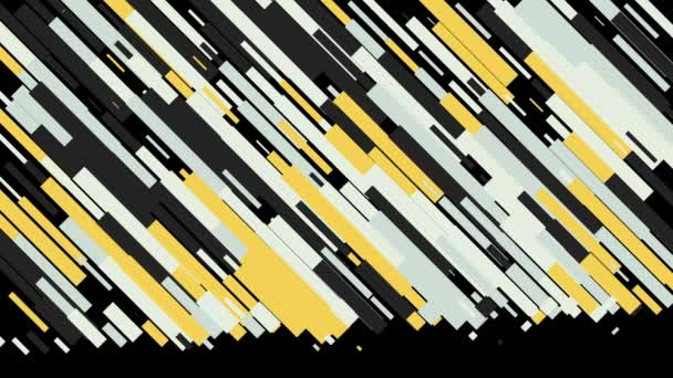 Abstract animation of colorful line patterns moving diagonally on the black background. Animation. Abstract geometric pattern