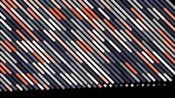Abstract diagonal rows of narrow lines with white light impulse moving along them. Animation. Colorful stripes devided into segments on black background.