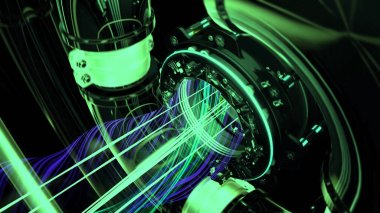 Futuristic technological concept, close up of rotating laser with shining beams surrounded by spinning pipes. Animation. Green neon laser rotating and glowing.