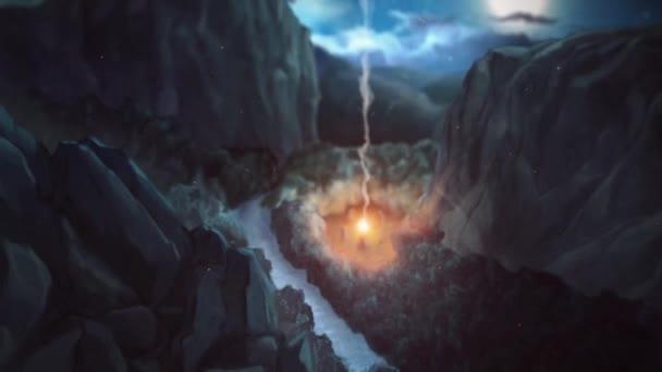 Abstraktní animace lesa v noci s mystickým fiew obklopen rituálními kameny. Záběry ze skladu. Magický obřad v tajemném lese,