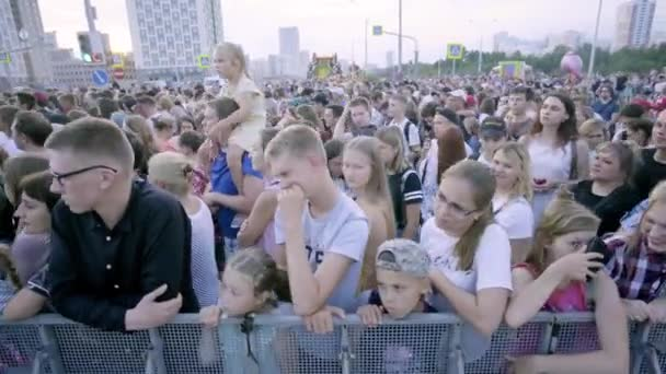 Yekaterinburg, Russia-August, 2019: Large crowd of people gathered at festive concert in city. Art. Holiday that gathered lot of people on occasion of city day in summer