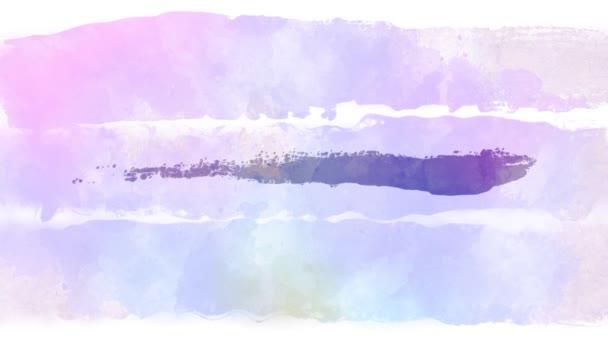 abstrakte zarte Pinselstriche in verschiedenen Farben auf weißem Papier. Animation. Kunstkonzept, künstlerischer Aquarell-Hintergrund.