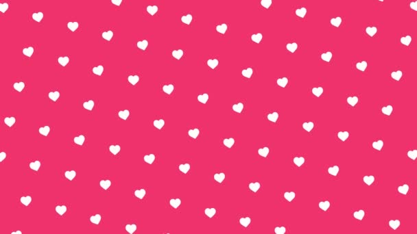 Absztrakt fehér szívek áramló inrows fényes rózsaszín háttér, romantika, szerelem, Valentin-napi koncepció. Animáció. Kis aranyos mozgó szív formák, zökkenőmentes hurok.