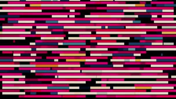 Absztrakt vízszintes párhuzamos sorok rövid vonalak mozog a különböző irányokba fekete háttér, zökkenőmentes hurok. Animáció. Rózsaszín szegmensek jelennek meg, és gyorsan áramlik.