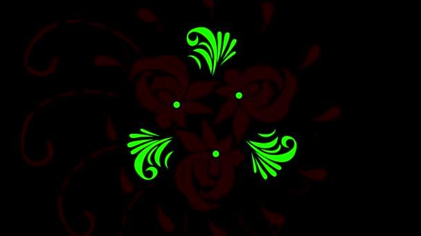 Absztrakt dísz digitális zöld virágos minta jelenik meg a fekete háttér. Animáció. Vintage díszítő elemek zöld virágokkal és szirmokkal.
