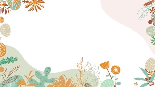 Virágminták a szélek körül. Animáció. Gyönyörű animált háttér finom növények virágzik szélén fehér háttér