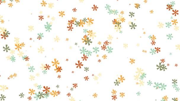 Virág minták forognak a fehér háttér. Animáció. Gyönyörű és finom háttér sokszínű virág minták forgó fehér háttér