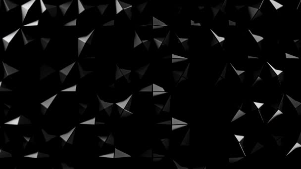 Moving abstract background in the form of glowing 3D rhombuses, seamless loop. Stock animation. Shining monochrome convex figures texture, harmony of colours, light and shadow.