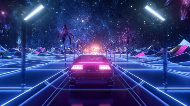 Abstract landscape of the futuristic neon city and the road with moving car. Stock animation. Cyberpunk theme, beautiful retro car driving along pyramids, seamless loop.