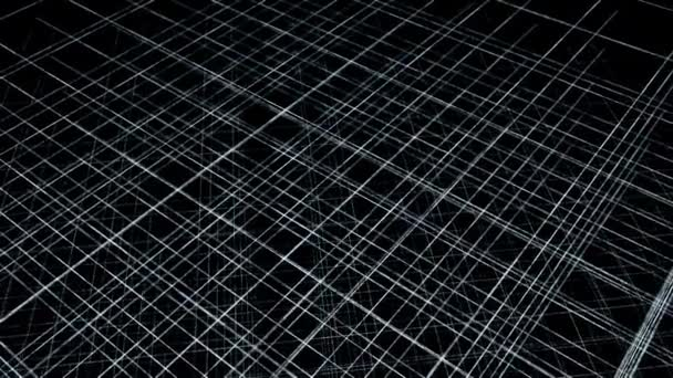 3D tér rácsos vonalakkal. Animáció. Többszintű rács vékony vonalak fekete háttér. Vékony vonalak keresztezik az űrben az egész kerületét.