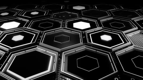 Abstrakter technologischer Hintergrund aus schwarzen Sechsecken mit weißem Glanz, nahtloser Schlaufe. Animation. 3D-Wand aus Sechsecken, monochromes Sci-Fi-Design.