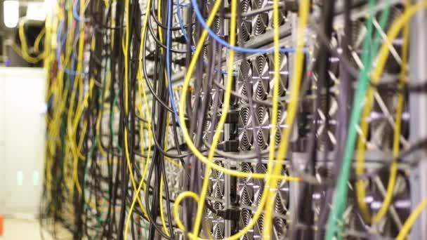 Großaufnahme eines Stapels bunter elektronischer Drähte in der Kommunikationszentrale. Archivmaterial. Details zum Serverraum mit Glasfasertechnik, Rechenzentrum.