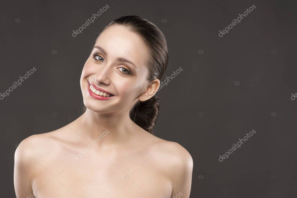 Girl with naked shoulders stock image. Image of attractive