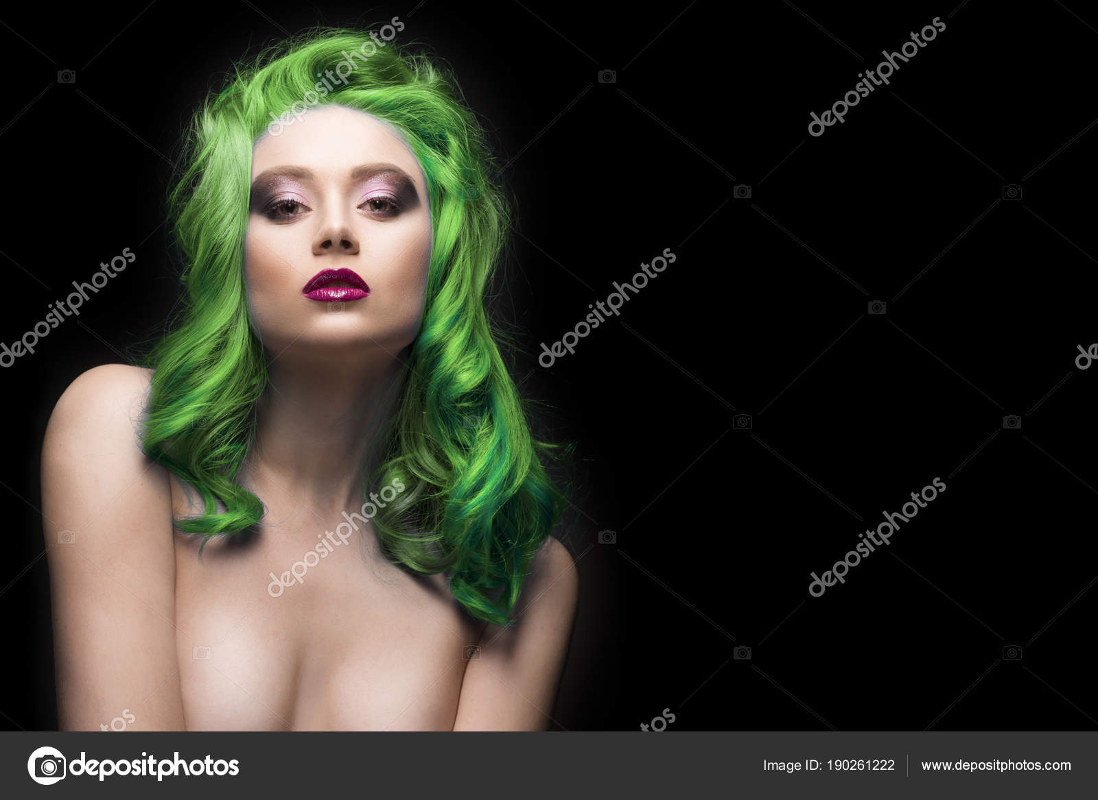 Sensual Portrait Of Beautiful Dyed Green Hair Naked Shoulders Gi Stock Photo