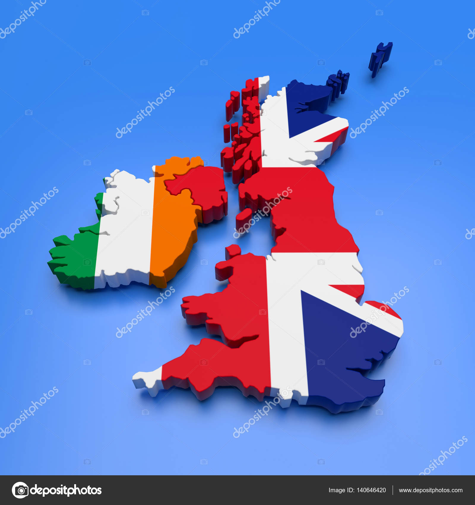 Map Of Ireland 3d.3d Uk And Ireland Map Stock Photo C Malewitch 140646420