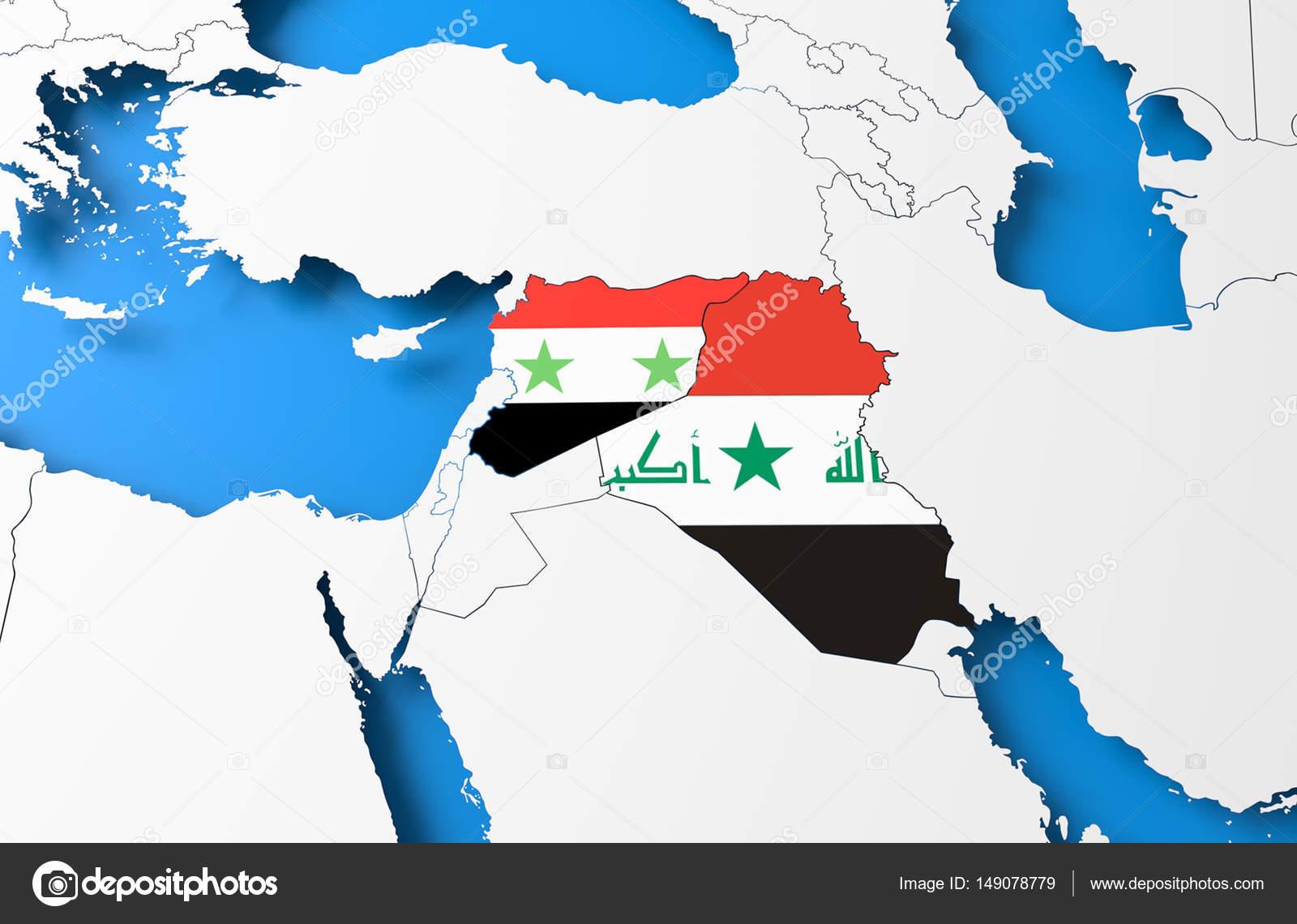 Syrien Irak Karte.Syrien Und Irak 3d Karte Stockfoto C Malewitch 149078779