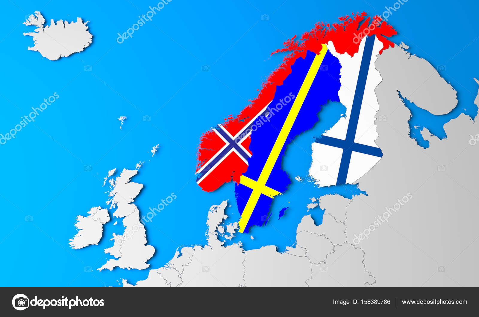 3D North Europe map — Stock Photo © MaleWitch #158389786