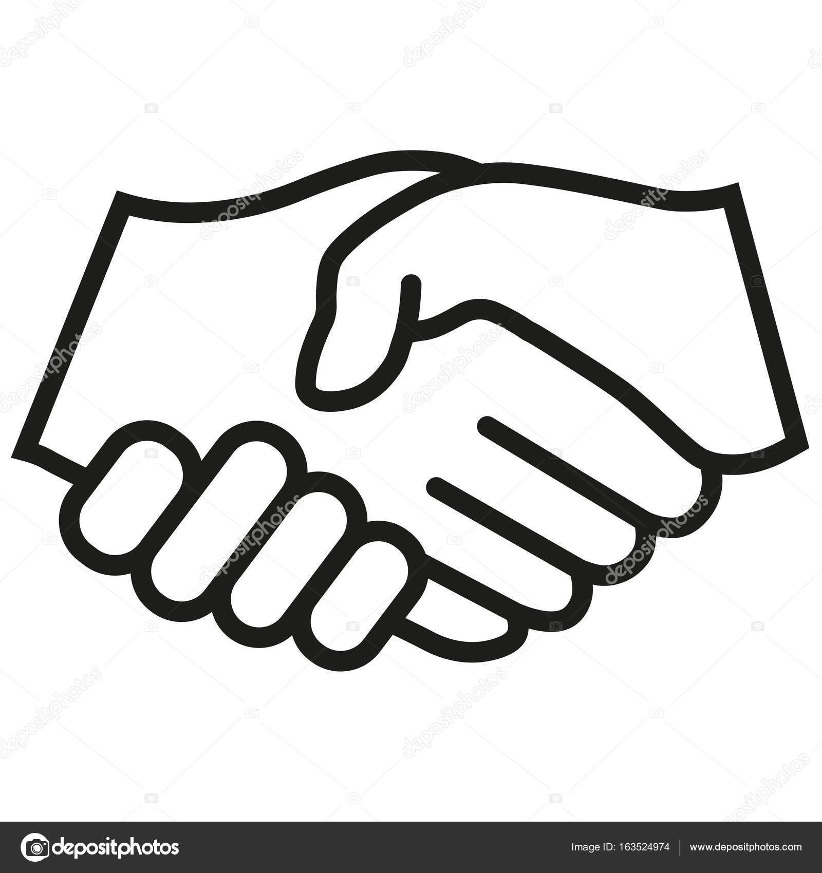 Handshake vector icon. Black illustration isolated for ...