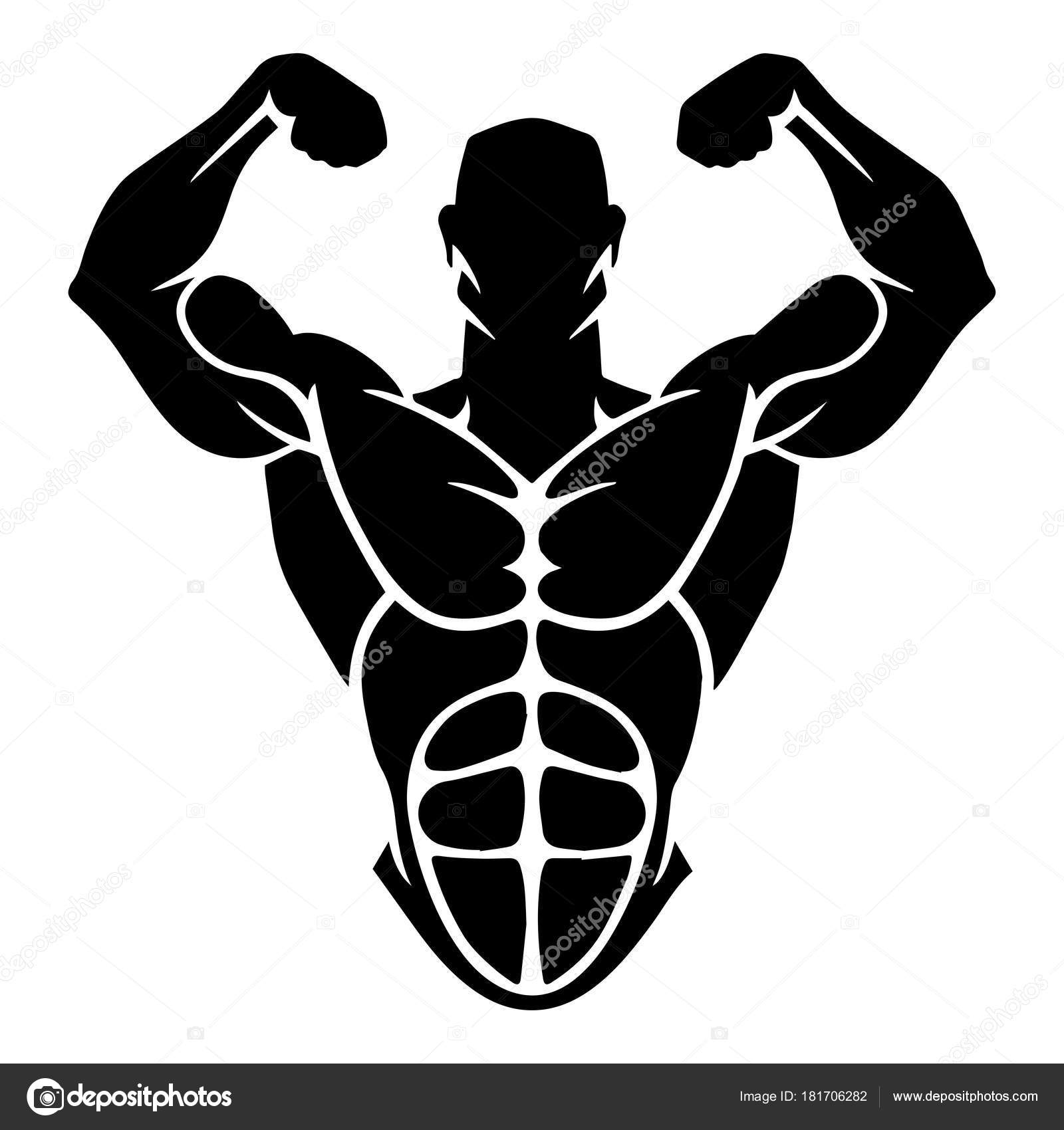 Bodybuilder Logo Template Vector Object Icons Sport Label