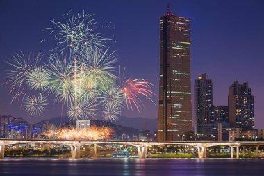 Havai fişek Festivali ve Seoul City, South Korea.