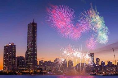 Seul Fireworks Festival gece City, Güney Kore.