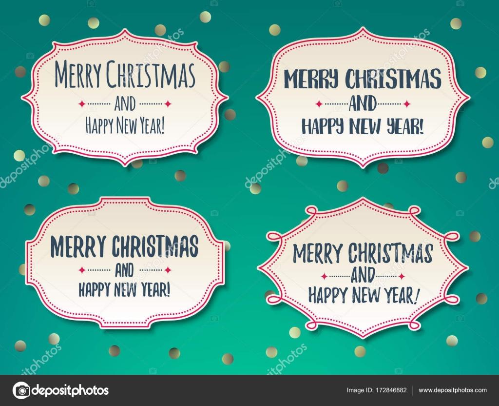 Conjunto de marcos clásicos vintage de Navidad saludos — Vector de ...