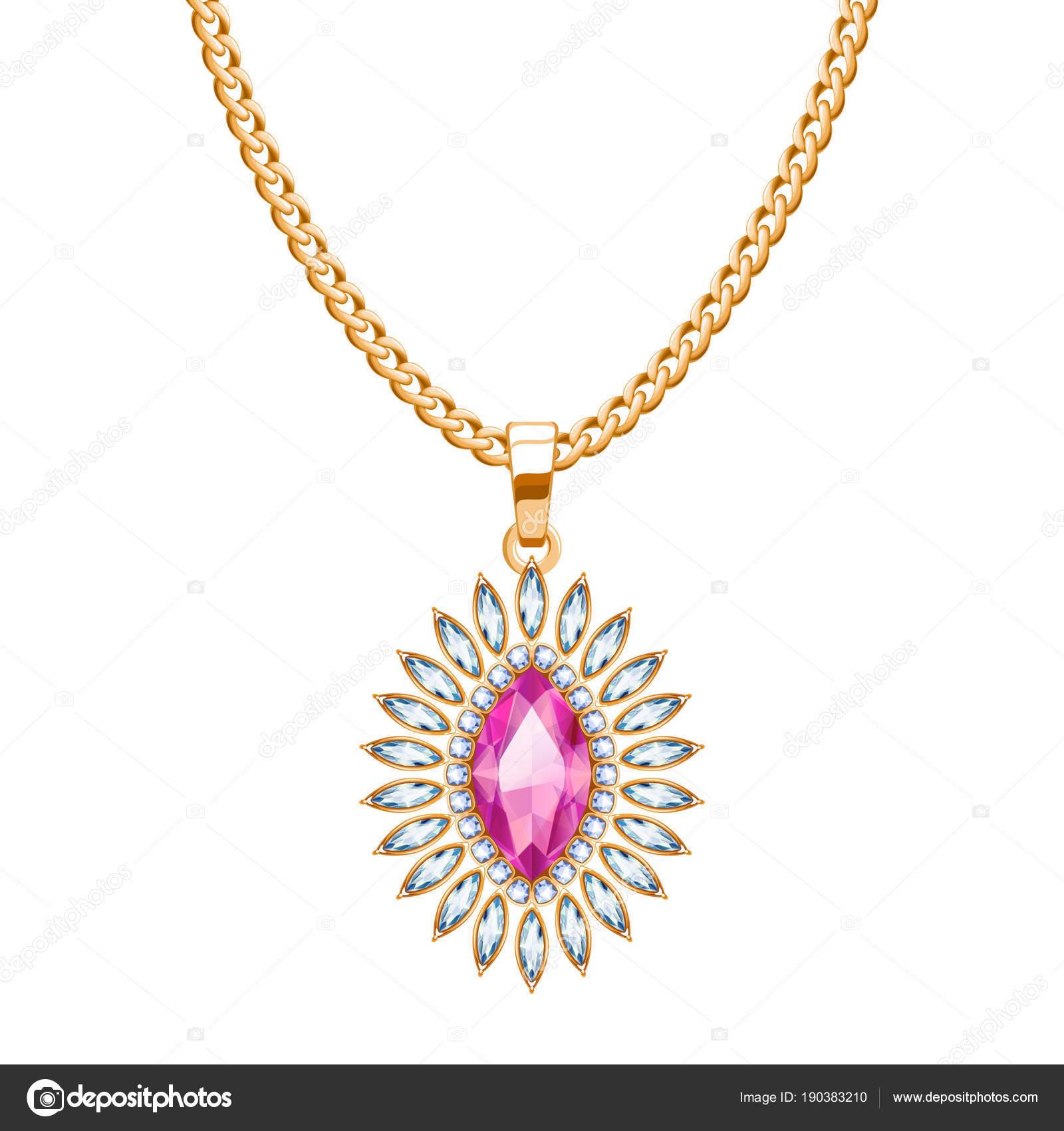 63fe4fccf786 Collar de cadena de oro con rubí y diamantes piedras preciosas. Diseño de  joyas — Vector de ...
