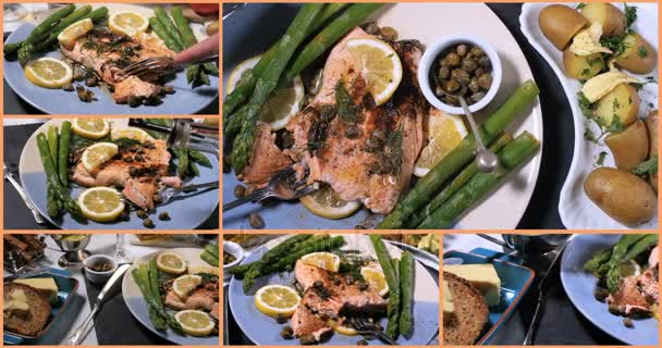 Koláž názorů lahodné pečené organického lososa s kapary a koprem