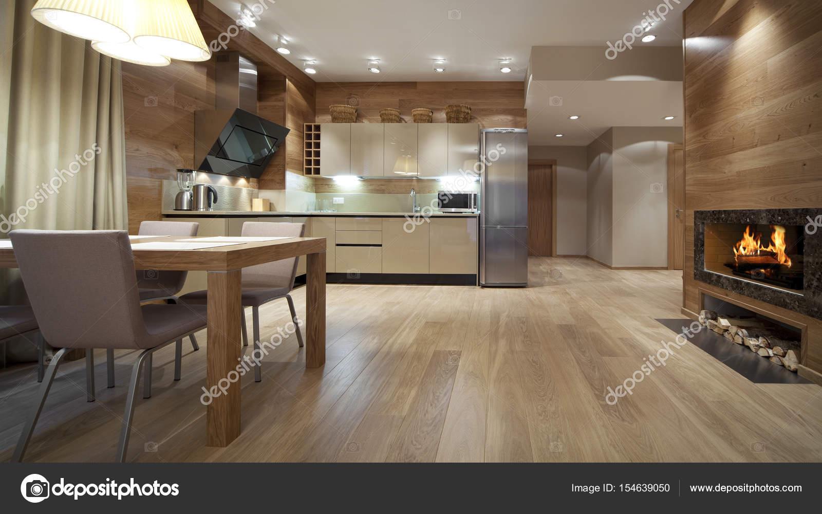 Zeitgenössisches Interieur mit Kamin — Stockfoto © gorin #154639050