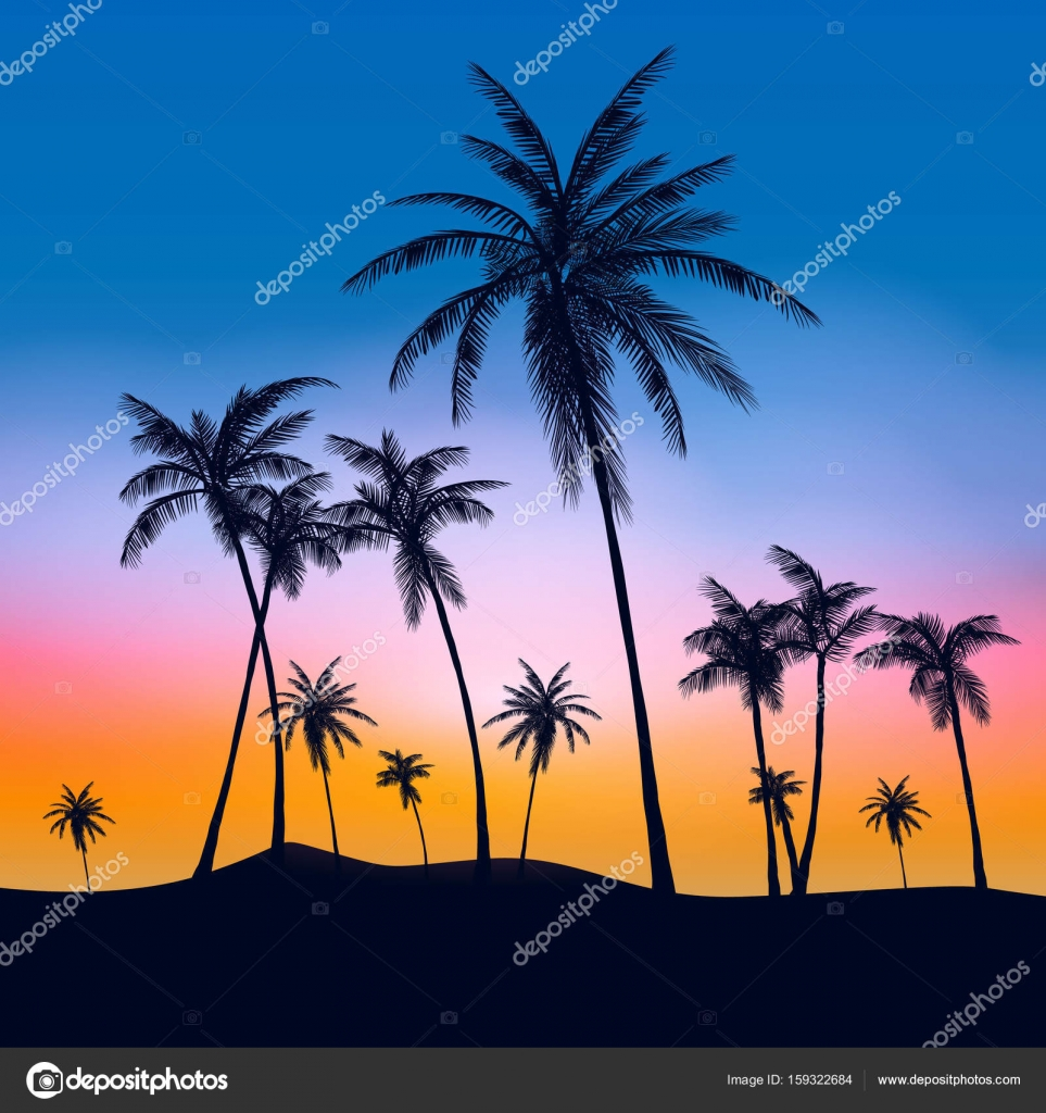 Summer Palm Trees Tumblr Stock Vector