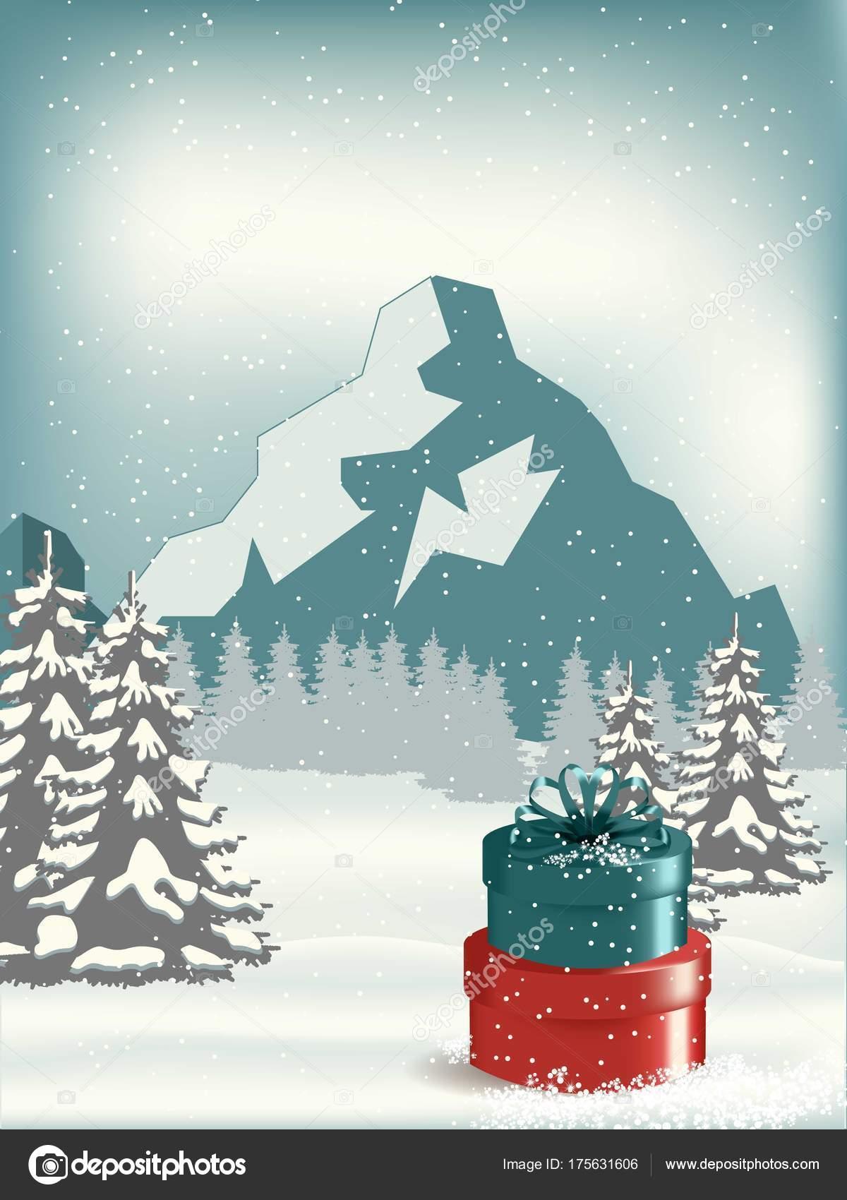 Weihnachten Landschaft Postkarte Illustration Einer Runde Mit ...