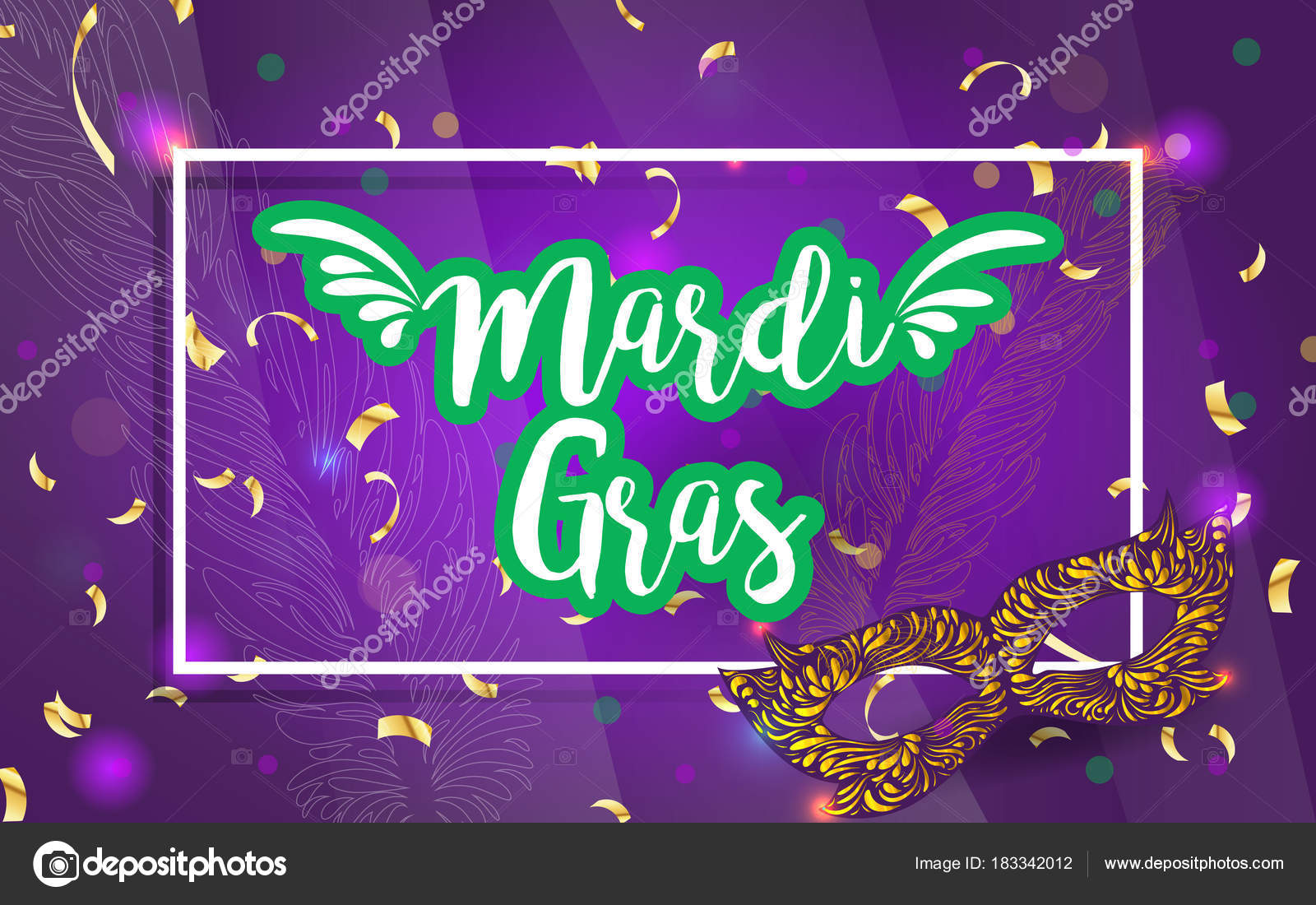 Mardi gras brochure vector logo hand drawn lettering golden fat mardi gras brochure vector logo with hand drawn lettering and golden fat tuesday mask greeting card with shining beads on traditional colors background m4hsunfo