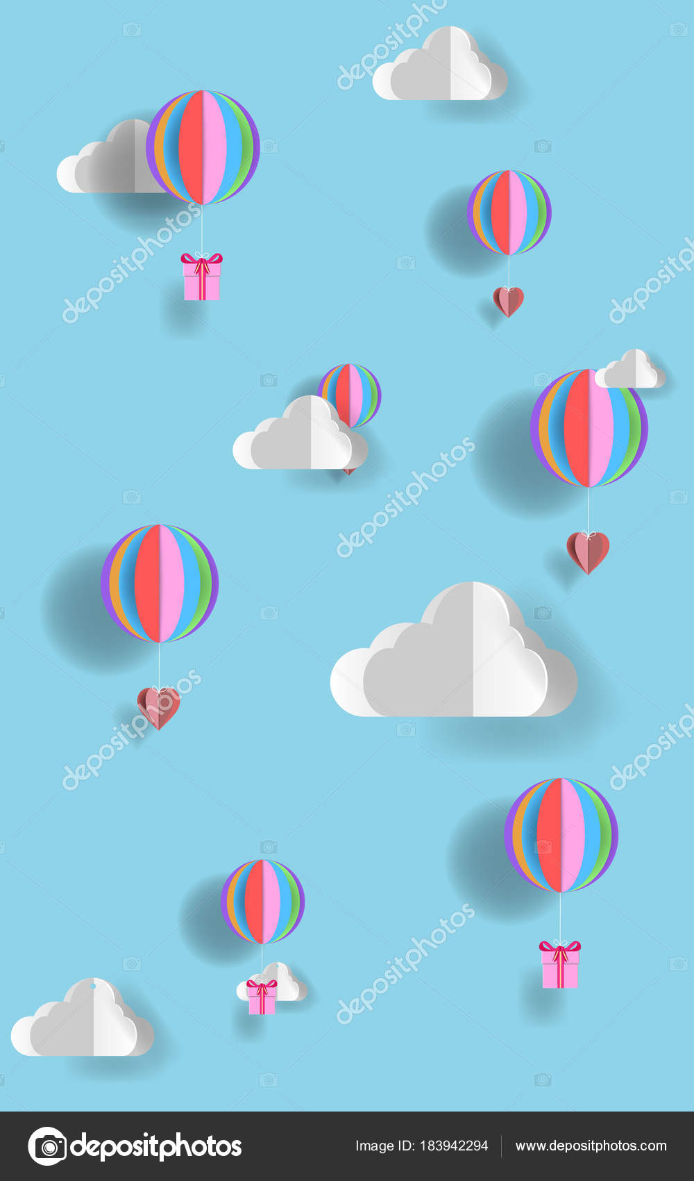 Concept love valentine day origami made hot air balloon heart concept love valentine day origami made hot air balloon heart stock vector jeuxipadfo Choice Image